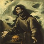 El Greco (1541-1614)  Saint Francis receiving the Stigmata  Oil on canvas  41 3/8 x 31 3/8 inches (105.4 x 80 cm)  Private collection